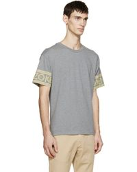 KENZO - Gray Grey & Yellow Logo Sleeve T-shirt for Men - Lyst