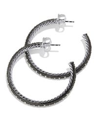 David Yurman - Metallic Midnight Melange Large Hoop Earrings With Diamonds - Lyst