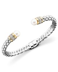 Macy's | Metallic 14k Gold & Sterling Silver Cultured Freshwater Pearl Diamond Accent Braid Bangle Bracelet | Lyst