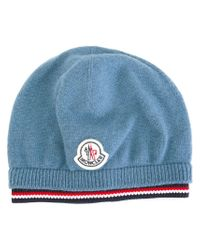 Moncler - Blue Logo Patch Beanie - Lyst