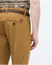 Zara | Natural Chinos With Belt for Men | Lyst