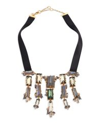 Alexis Bittar | Black Elements Punk Labradorite, Pyrite, Crystal & Ribbon Cascading Baguette Bib Necklace | Lyst
