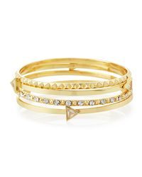 Lydell NYC - Metallic Pyramid Stacked Crystal Cuff Bracelet - Lyst