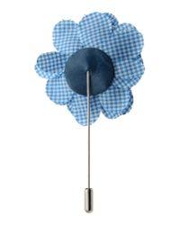 Lanvin | Blue Gingham Floral Brooch | Lyst