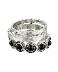 Sam Edelman | Black Metal Stone Stack Ring | Lyst