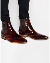 Jeffery West - Brown Leather Brogue Chelsea Boots for Men - Lyst