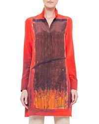 Akris - Orange Secret Door-print Charmeuse Tunic - Lyst