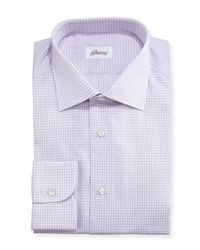 Brioni | Pink Textured Graph-check Shirt for Men | Lyst