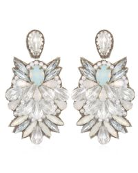 Suzanna Dai | White Tuileries Large Drop Earrings, Ivory/crystal | Lyst