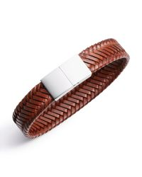Jan Leslie | Brown Braided Vegetable-Dyed Flat Leather Bracelet for Men | Lyst