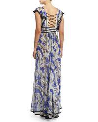 Roberto Cavalli - Blue Ruffle-sleeve Silk Chiffon Lace-front Gown - Lyst