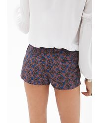 Forever 21 - Blue Pleated Floral Shorts - Lyst