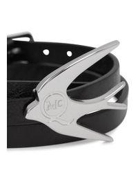 McQ - Black Leather Swallow Triple Wrap Bracelet - Lyst