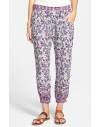 Rip Curl | Purple Floral-Print Cropped Pants | Lyst