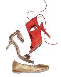 Chloé - Scalloped Metallic Leather Ballerina Flat - Lyst
