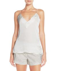 Free People - Natural Scallop Satin Camisole - Lyst