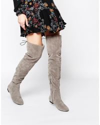 Daisy Street - Gray Grey Over The Knee Tie Back Flat Boots - Lyst