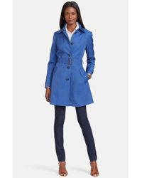 Lauren by Ralph Lauren | Blue Single Breasted Skirted Trench Coat | Lyst