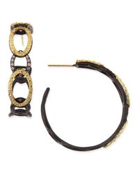 Armenta - Blue Midnight & Yellow Gold Circle Link Hoop Earrings With Diamonds - Lyst