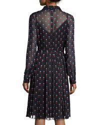 Christopher Kane - Black Pleated Heart-print Shirt Dress - Lyst