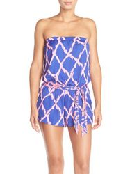Lilly Pulitzer - Blue Lilly Pullitzer 'ritz' Strapless Print Satin Romper - Lyst