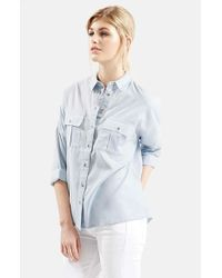 TOPSHOP | Blue Oversize Lightweight Chambray Shirt | Lyst