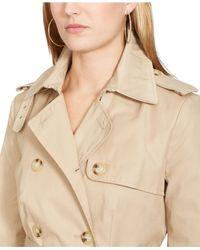 Lauren by Ralph Lauren - Natural Double-Breasted Trench Coat - Lyst