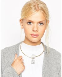 ASOS - Metallic Chalky Cube Torque Necklace - Lyst