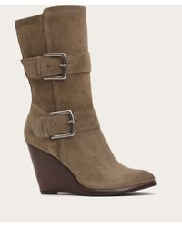 Frye | Gray Cece Buckle Wedge | Lyst