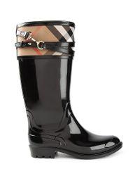 Burberry - Black 'Nova Check' Boots - Lyst