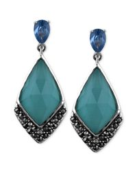 Judith Jack | Blue Spinel 1720 Ct Tw and Marcasite 34 Ct Tw Drop Earrings | Lyst