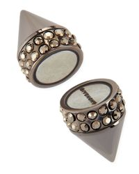 Givenchy - Metallic Single Dark Ruthenium Small Double Cone Magnetic Shark Earring With Crystals - Lyst