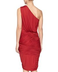 Halston | Red One-shoulder Ruched Dress | Lyst