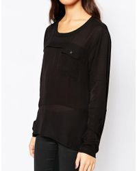 Y.A.S - Black Indy Sheer Top - Lyst