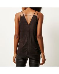 River Island - Brown Faux-suede Eyelet Cami - Lyst