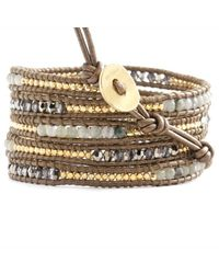 Chan Luu - Metallic Labradorite Crystal Mix Wrap Bracelet On Kansa Leather - Lyst