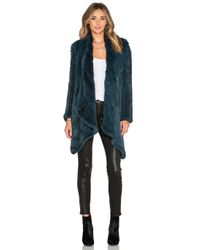 H Brand | Blue Ashleigh Rabbit Fur Coat | Lyst