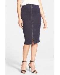 Halogen | Blue Zip Front Stretch Knit Pencil Skirt | Lyst