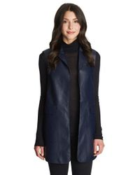 1.STATE | Blue Long Faux Leather Vest | Lyst