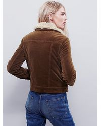 Free People - Brown Womens Sherpa Lined Uncut Cord Jacket - Lyst