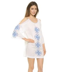 Pia Pauro - Blue Tiles Embroidered Beach Dress - White - Lyst