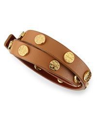 Tory Burch | Brown Logo-studded Leather Wrap Bracelet | Lyst