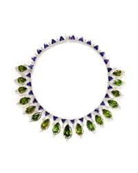 CZ by Kenneth Jay Lane | Green Pear Cut Cubic Zirconia Collar Necklace | Lyst