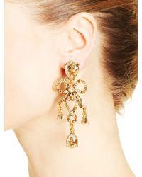 Oscar de la Renta | Metallic Golden Crystal & Russian Gold Bow Earrings | Lyst
