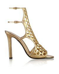 Tamara Mellon - Scandal Cutout Metallic Leather Sandals - Lyst