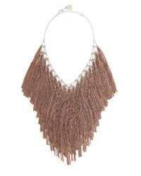 BCBGMAXAZRIA | Gray Lattice Woven Bib Necklace | Lyst
