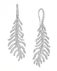 Mimi So | Phoenix 18k White Gold Diamond Feather Earrings On Wire | Lyst