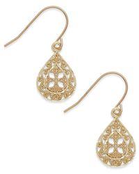 Macy's   Metallic Filigree Teardrop Earrings In 10k Gold   Lyst