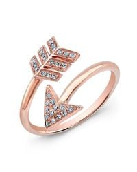 Anne Sisteron - Pink 14kt Rose Gold Diamond Wrap Around Arrow Ring - Lyst