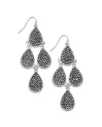 INC International Concepts - Metallic Silver-tone Crystal Pavé Chandelier Earrings - Lyst